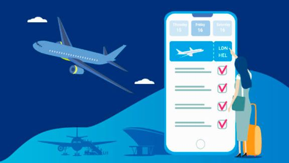 Airline e-Commerce software - ancillary upsell plane and mobile device image