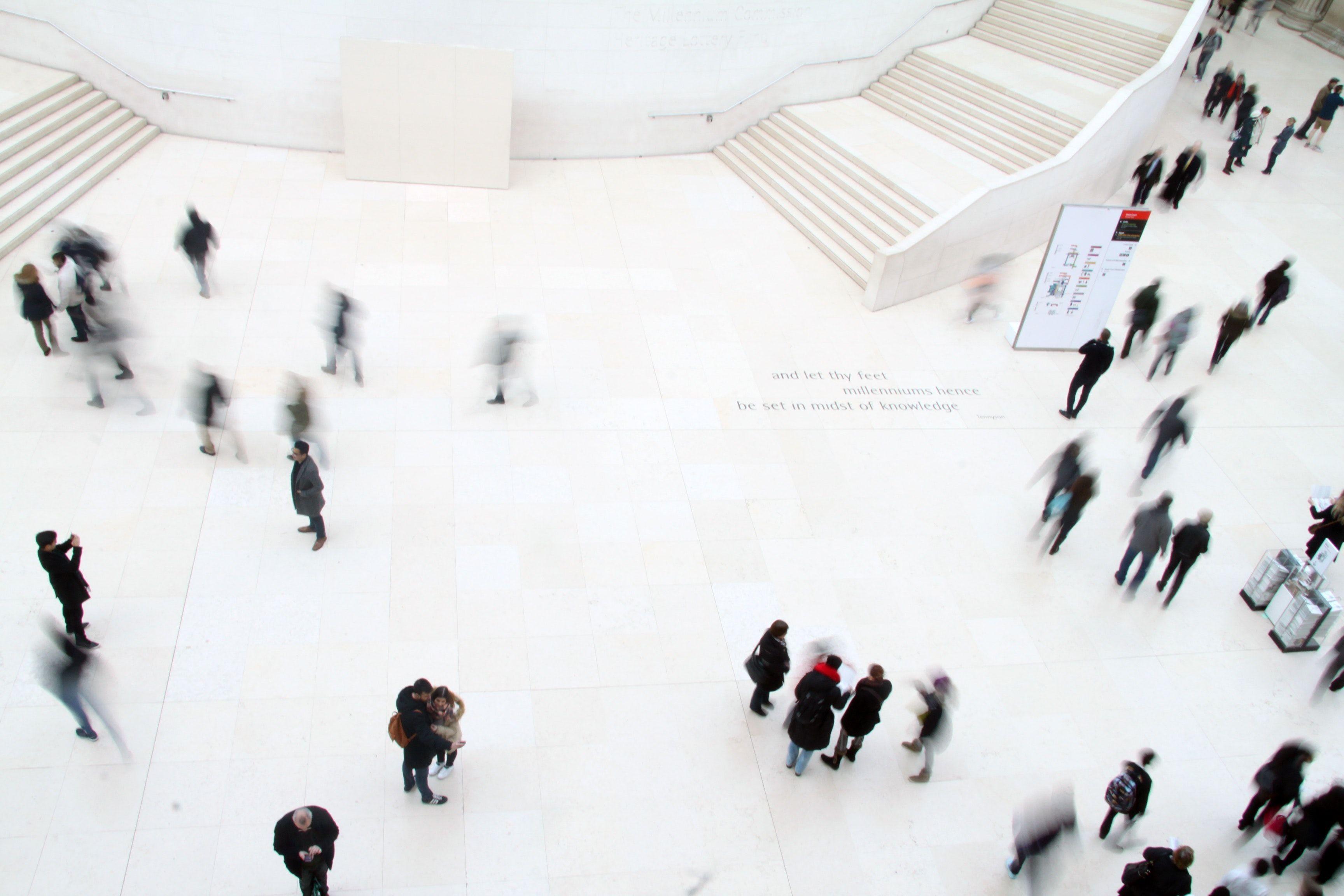 People walking in a lobby