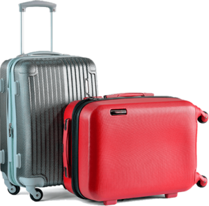 Grey and red suitcases