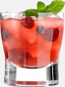 Coctail drink with raspberries, mint leaves and ice-cubes