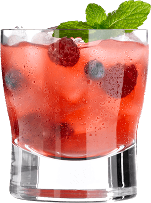 Coctail drink with raspberries, mint leaves and ice cubes