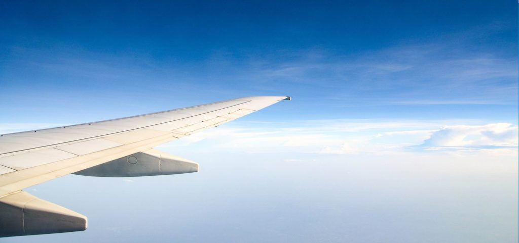 Wing of an airplane in flight