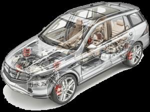 Transparent model of a car