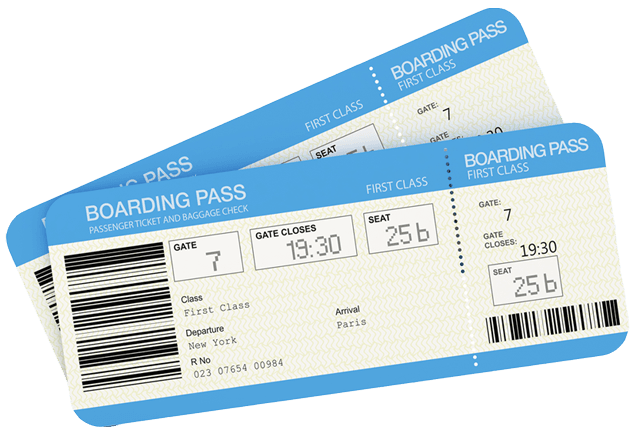 Two first class boarding passes