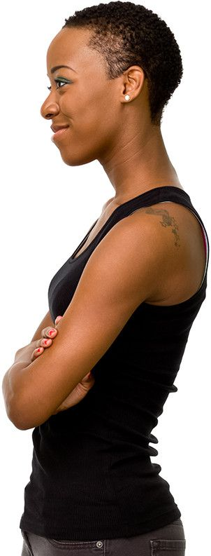 Afro american woman with black T-shirt