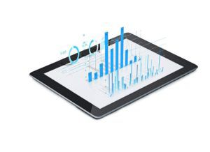 ipad with a 3D price optimization graphic illustration