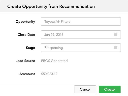 Opportunity detection from recommendation form fill