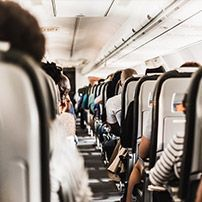 Passengers seating in a plane