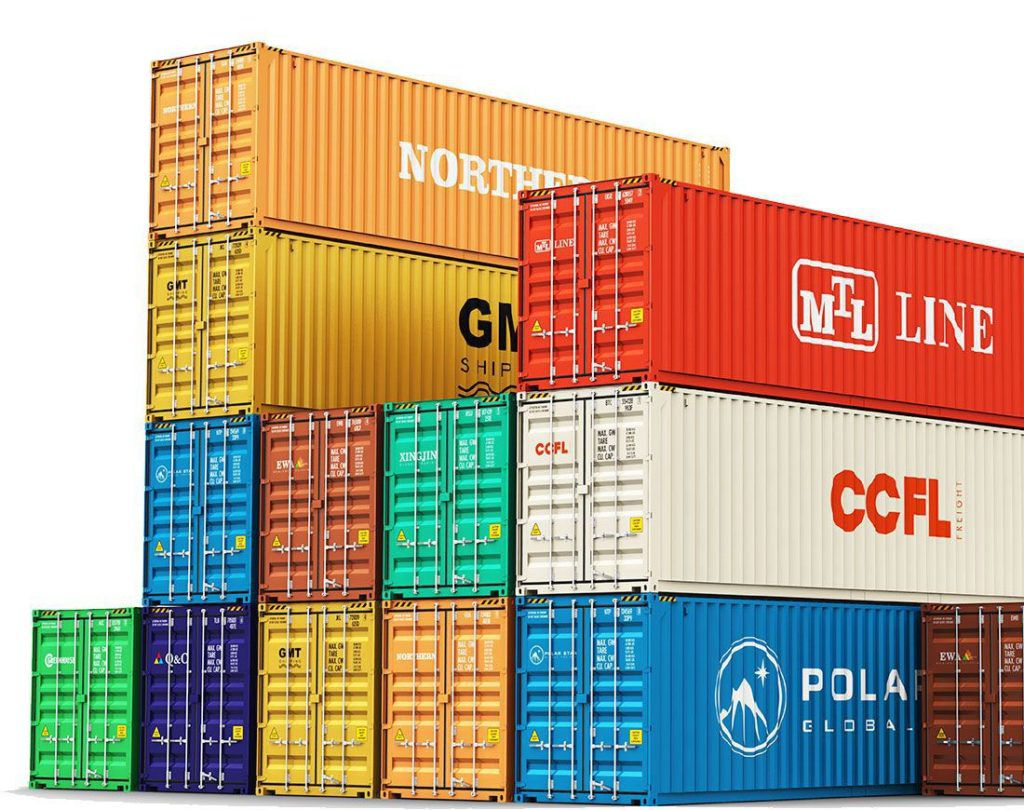Cargo containers in different colours