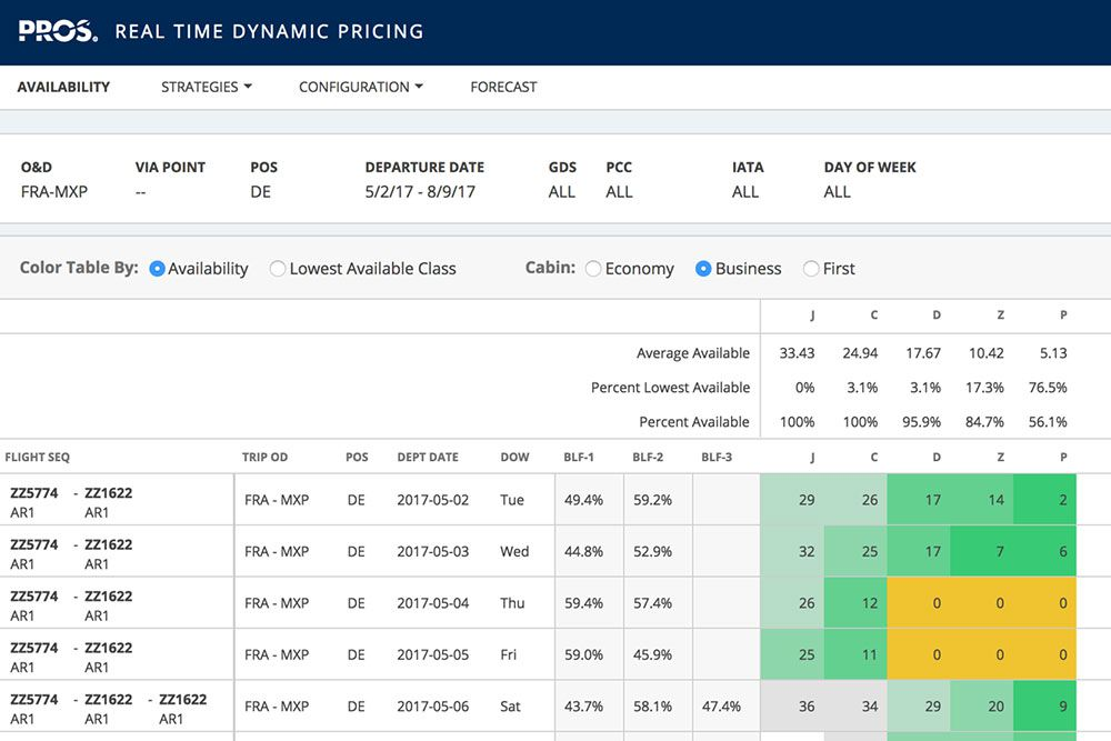 Real-Time Dynamic Pricing table with flight numbers