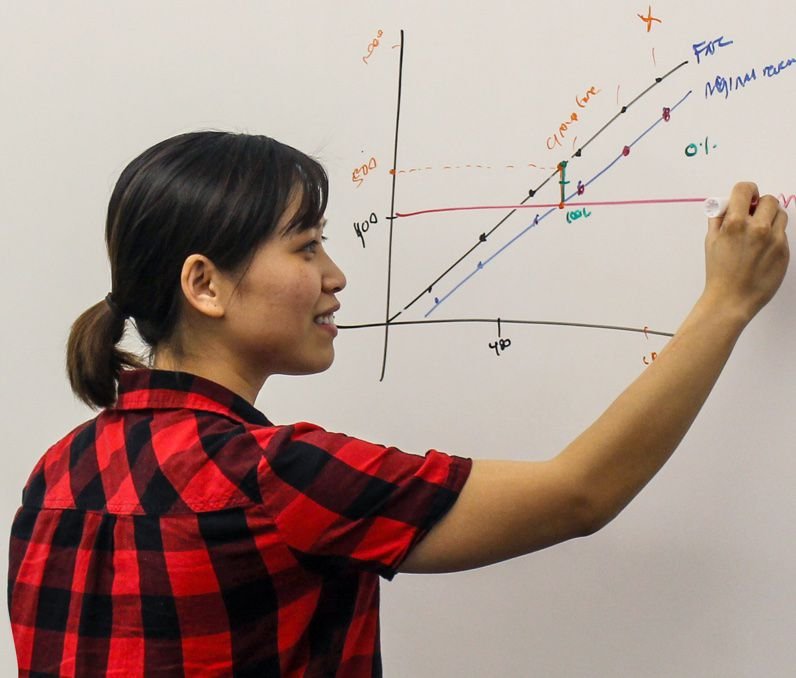 A woman drawing a chart on a white board